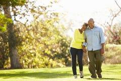 Couples supérieurs marchant par Autumn Woodland Photographie stock libre de droits