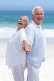 Couples supérieurs se tenant de nouveau au dos Photographie stock libre de droits