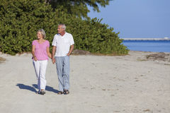 Couples supérieurs tenant la plage de marche de mains Images stock