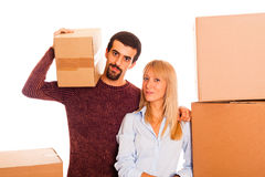 Couples sur déménager image stock