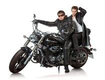 Couples sur la moto Photos libres de droits