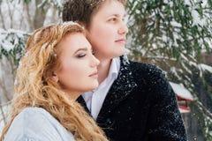 Couples sur la nature en hiver pendant chutes de neige Images stock