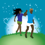 Couples sur la nature, promenade sous la lune Photo stock