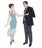 Couples sur la partie en quelques années 1920 de style de vintage illustration libre de droits