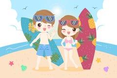 Couples sur la plage illustration de vecteur