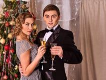 Couples sur la réception près de l'arbre de Noël Image libre de droits