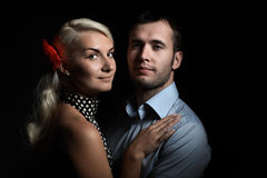 Couples sur le noir Photo stock