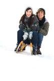Couples sur le traîneau Image stock