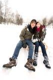 Couples sur le traîneau Photos libres de droits