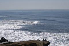 Couples sur les roches observant l'océan Photographie stock