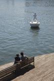 Couples sur rambla Del Mar Image libre de droits