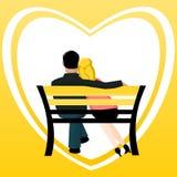 Couples sur un banc Illustration Libre de Droits