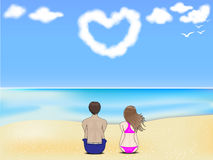 Couples sur un beach.jpg Image libre de droits