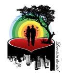 Couples sur un coeur Photos libres de droits