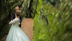 Couples sur un fond de belles roches Couples se tenant sous la montagne clips vidéos