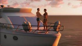 Couples sur une embarcation de plaisance Photographie stock