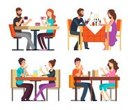 Couples table. Man, woman having coffee and dinner. Conversation between guys in restaurant. Vector cartoon characters. In romantic date. Illustration of vector illustration
