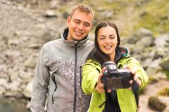 Couples take a selfie royalty free stock photography