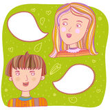 Couples talk. Boy and girl talking - colorful illustration Stock Photo
