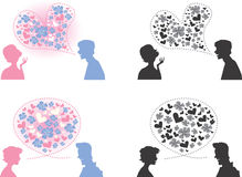 Couples talking. An illustrated view of four silhouetted couples talking with each other with nearby heart-shaped dialogue boxes. Suitable for valentine themes stock illustration