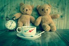 Couples teddy bear. Couples teddy bear  on wood background,vintage tone Stock Photos