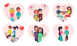 Couples Time Together Love Vector Illustration. Couples and time spent together, loving people and activities, man and woman holding balloon in shape of heart Royalty Free Stock Photo