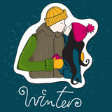 Couples tirés par la main mignons de l'hiver de type Photographie stock libre de droits