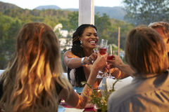 Couples toasting at dinner on a terrace, over shoulder view stock photography