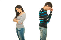 Couples tristes ayant le conflit Images libres de droits