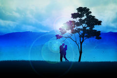 Couples Under The Tree. Silhouette illustration of a couples under the tree Stock Image