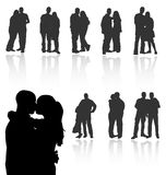 Silhouette couple vector people love woman man illustration white girl happy background female romantic silhouettes young black stock illustration