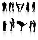 Couples vector silhouettes. Royalty Free Stock Photo