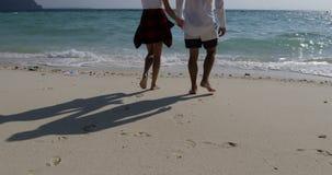 Couples venant pour arroser des vacances augmentantes heureuses de mer de mains de vue arrière de dos de plage, d'homme et de fem banque de vidéos