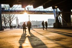 Couples walking along South Bank, London Stock Photography