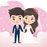 Couples wedding on the ping sky cloud. vector illustration