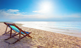Couples of wood chair beach and blue sky at sea side for summer Royalty Free Stock Images
