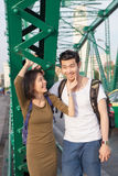 Couples of younger asian man and woman relaxing emotion with hap Stock Photography