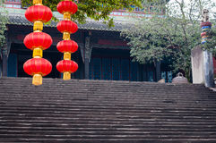 Lanterns above stairs. New lantern on the trees above stairs Stock Photos