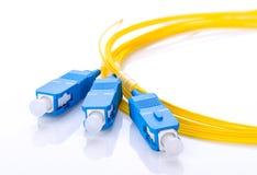 Coupleur optique de fibre avec des connecteurs de Sc sur le fond blanc images stock
