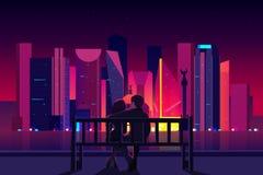 Couplez apprécier le vecteur de vue de nuit de Mexico illustration de vecteur