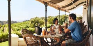 Couplez apprécier un verre de vin dans un restaurant d'établissement vinicole Photographie stock libre de droits