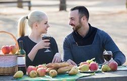 Couplez avoir le pique-nique dans la journée de printemps ensoleillée à la campagne Photographie stock