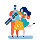 Couplez choisir des cadeaux d'anniversaire dirigent l'illustration illustration de vecteur
