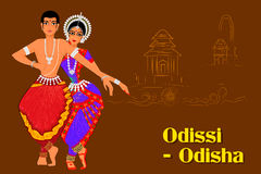 Couplez exécuter la danse classique d'Odissi d'Odisha, Inde illustration stock