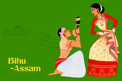 Couplez exécuter la danse folklorique de Bihu d'Assam, Inde illustration de vecteur