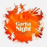 Couplez jouer Dandiya en affiche de Garba Night de disco pour le festival de Navratri Dussehra de l'Inde Photos stock