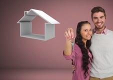 Couplez juger principal avec l'icône de maison devant la vignette Image libre de droits