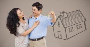 Couplez juger principal avec le dessin de maison devant la vignette image libre de droits