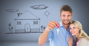Couplez juger principal avec le dessin de maison de maison devant la vignette Images stock