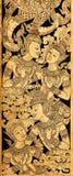 Couplez l'ange dans l'amour, peinture thaïlandaise traditionnelle de style sur Temple Photographie stock